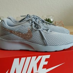 Nike Shoes - Nike Tanjun Custom Rose Gold Bling